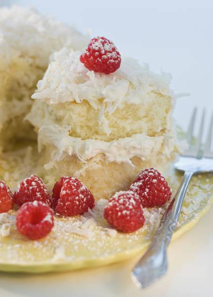 Selective Focus Photograph - Coconut Cake With Raspberries by Tom Grill