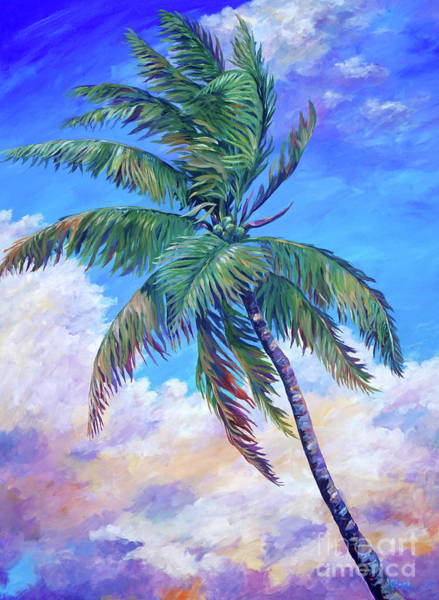 Wall Art - Painting - Coconut Palm Tree In The Breeze  by John Clark