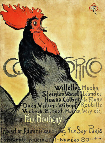 Wall Art - Painting - Cocorico - Digital Remastered Edition by Theophile Alexandre Steinlen