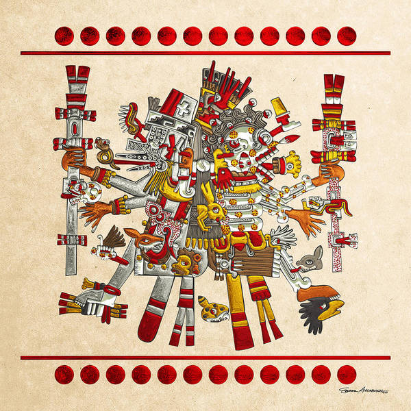 Digital Art - Codex Borgia - Aztec Gods - Quetzalcoatl Wind God With Mictlantecuhtli God Of Death On Vellum by Serge Averbukh