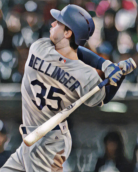 Wall Art - Mixed Media - Cody Bellinger Los Angeles Dodgers Abstract Art 1 by Joe Hamilton