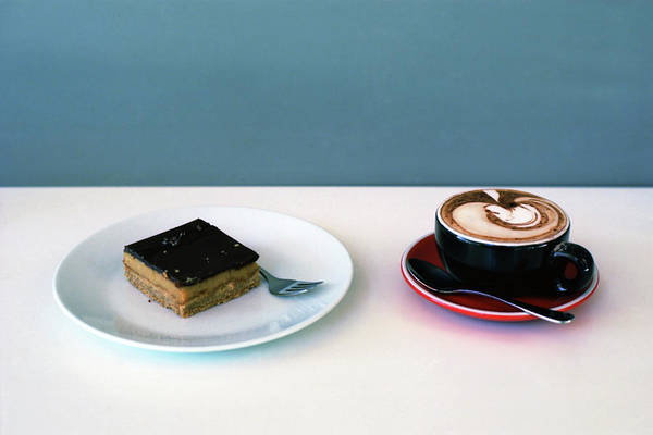 Blue Spoon Photograph - Coffee And Cake by Mary Gaudin