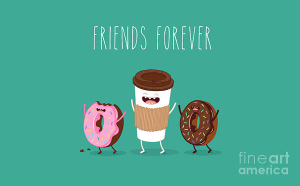 Wall Art - Digital Art - Coffee And Donuts Illustration. Vector by Serbinka