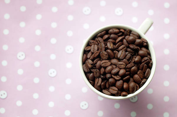 Australia Photograph - Coffee Beans In Cup On Pink And White by Carolyn Hebbard