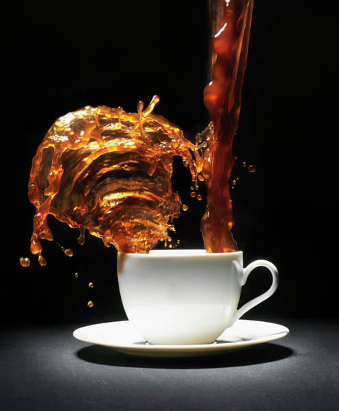 Saucer Photograph - Coffee Being Poured Into Cup Splashing by Henrik Sorensen