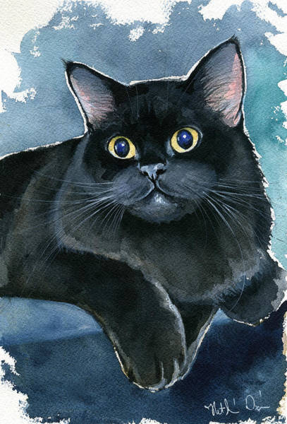 Painting - Coffee Black Persian Cat by Dora Hathazi Mendes