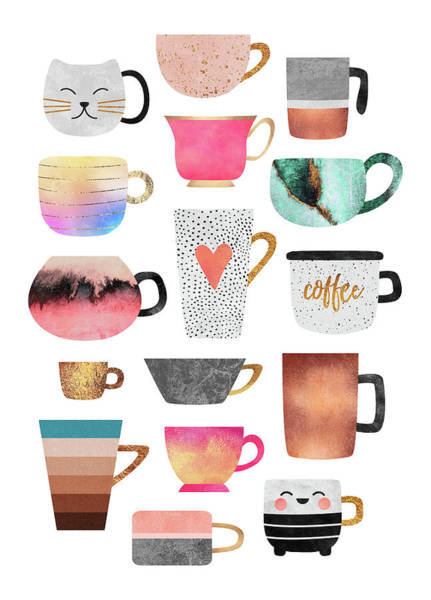 Cup Digital Art - Coffee Cup Collection by Elisabeth Fredriksson