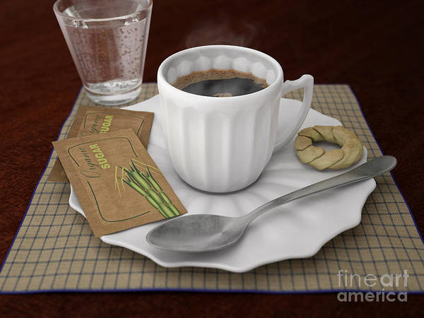 Wooden Spoon Digital Art -  Coffee Cup  by Pedro Turrini Neto