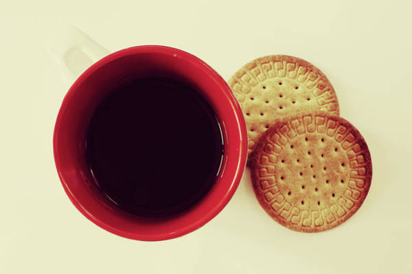 Mug Photograph - Coffee In Red Mug And Two Biscuits On by Ana Guisado Photography