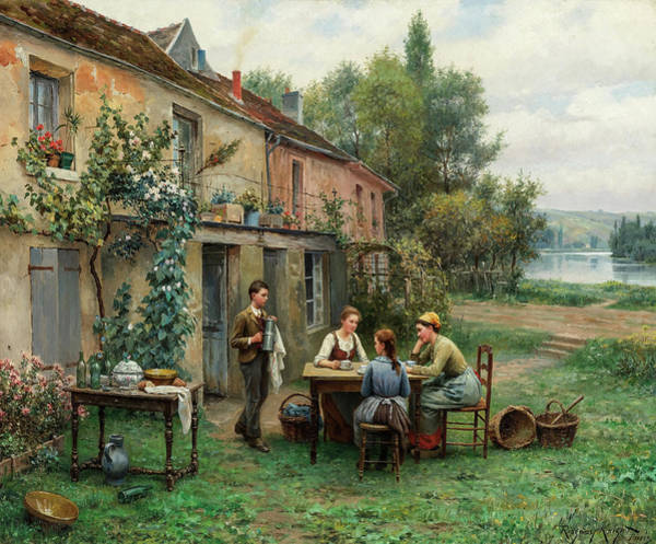 Knight Painting - Coffee In The Garden, 19th Century by Daniel Ridgway Knight