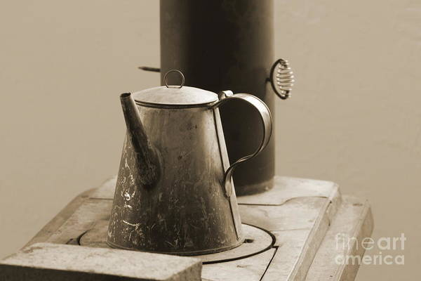 Photograph - Coffee Pot On Cast Iron Stove In Sepia - Fort Stanton New Mexico by Colleen Cornelius