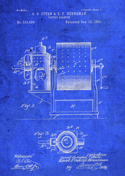 Patent Mixed Media - Coffee Roaster Vintage Patent Blueprint by Design Turnpike