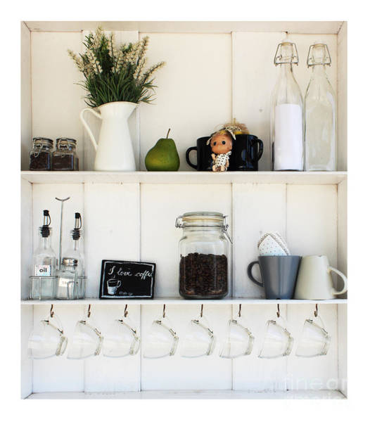 Wall Art - Photograph - Coffee White Shelves On A White by Thesnake19