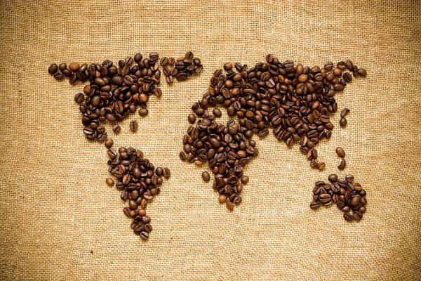 Usa Map Photograph - Coffee World by Azemdega