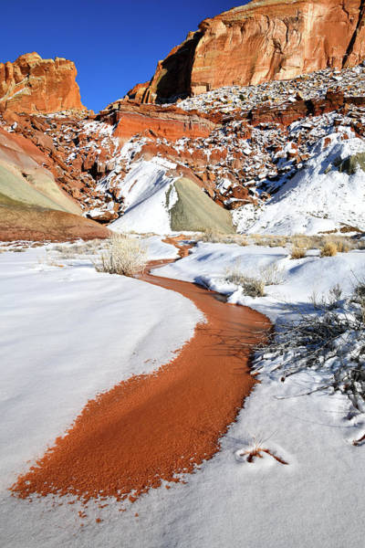 Photograph - Cohab Canyon Runoff In Capitol Reef Np by Ray Mathis