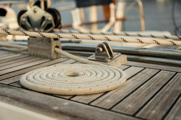Boat Deck Photograph - Coiled Line, Rope, On Teak Deck Of 62 by Gary S Chapman