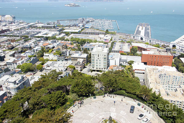 Photograph - Coit Tower Parking Circle On Telegraph Hill Overlooking Pier 39 And Alcatraz San Francisco R603 by Wingsdomain Art and Photography
