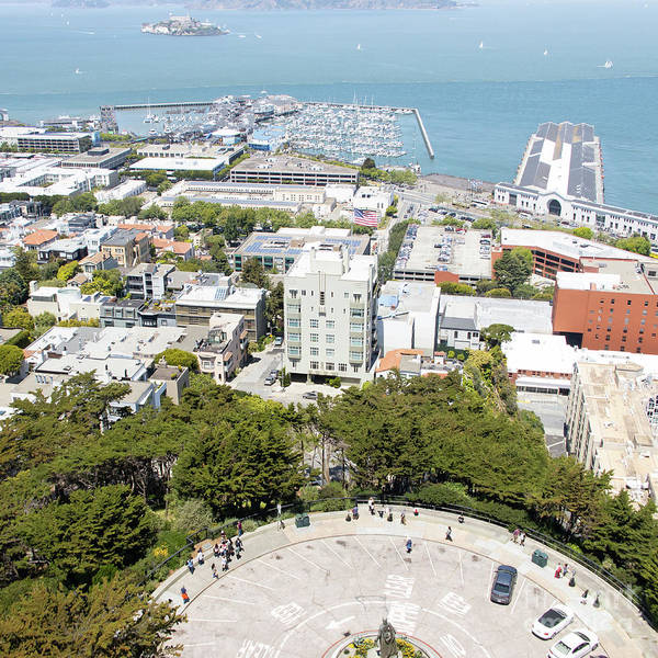 Photograph - Coit Tower Parking Circle Overlooking The Embarcadero Pier 39 And Alcatraz San Francisco R603 Sq by Wingsdomain Art and Photography