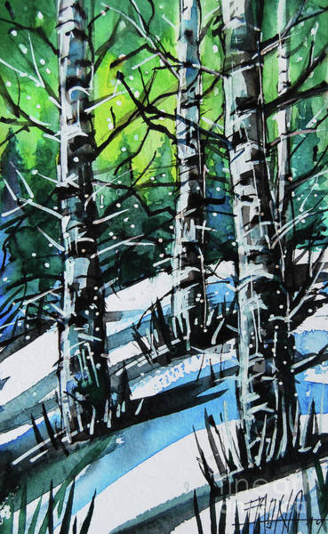 Aurora Borealis Painting - Cold Aurora - Winterscape Watercolor - Mona Edulesco by Mona Edulesco
