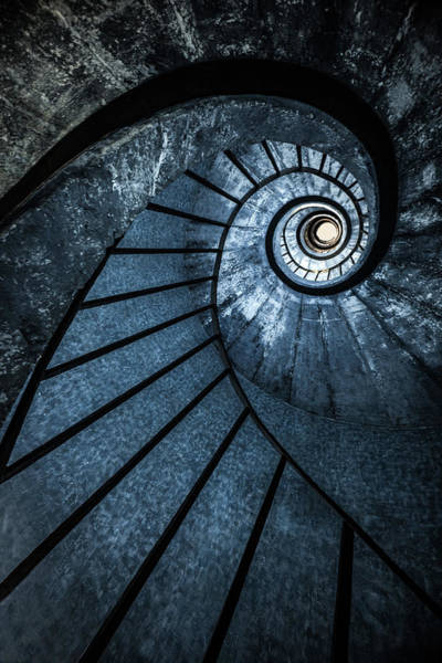 Wall Art - Photograph - Cold Blue Staircase by Jaroslaw Blaminsky