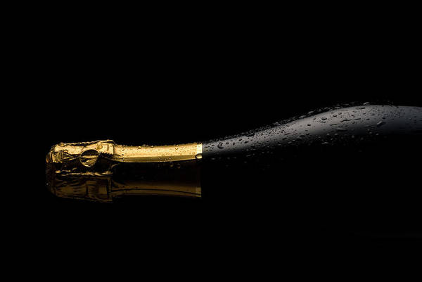 Black Background Photograph - Cold Champagne Bottle by P1images