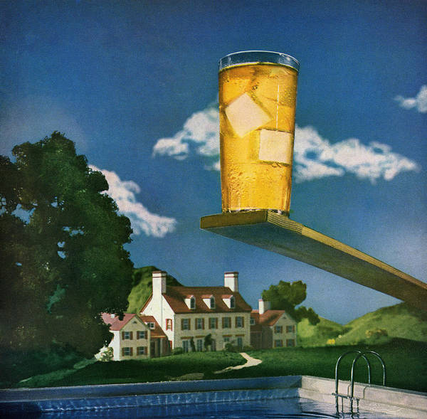 Diving Board Digital Art - Cold Drink By The Pool by Graphicaartis