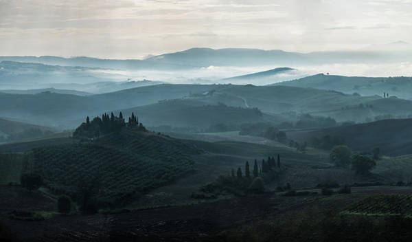 Photograph - Cold Foggy Morning In Toscany by Jaroslaw Blaminsky