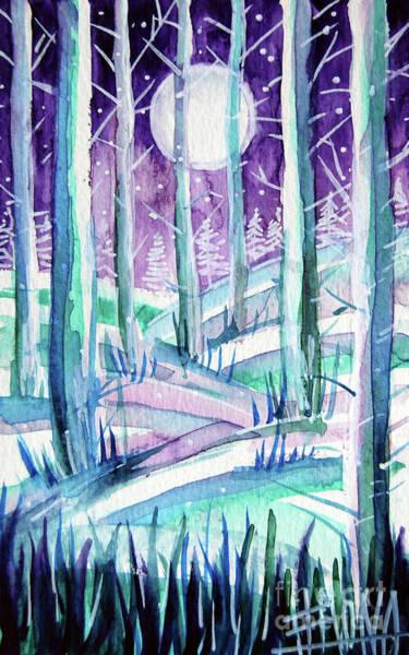 Aurora Borealis Painting - Cold Light - Winterscape Watercolor - Mona Edulesco by Mona Edulesco