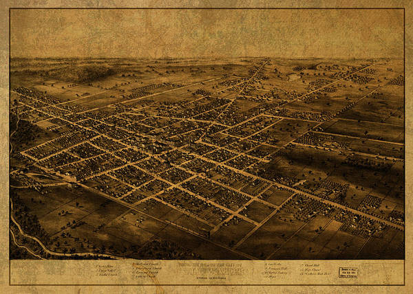 Wall Art - Mixed Media - Coldwater Michigan Vintage City Street Map 1868 by Design Turnpike