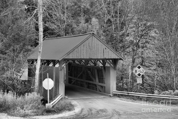 Photograph - Cole Hill Road Covered Bridge Black And White by Adam Jewell
