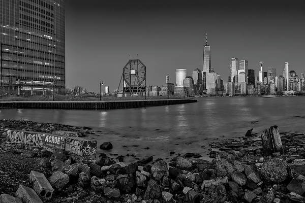 Photograph - Colgate Clock And Nyc Skyline Bw by Susan Candelario
