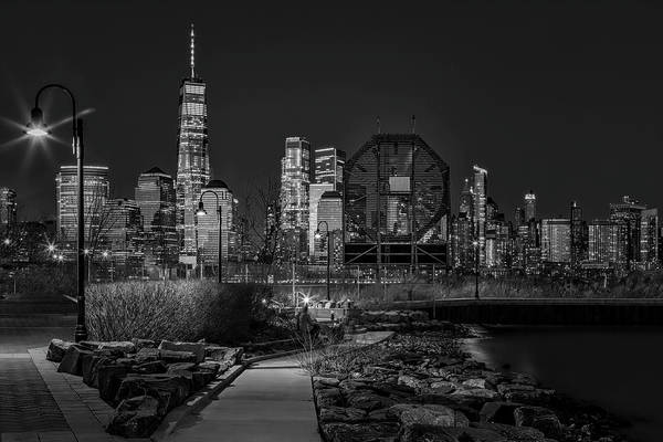 Photograph - Colgate Clock And Nyc Skyline Twilight Bw by Susan Candelario