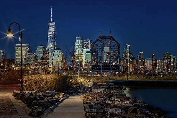 Photograph - Colgate Clock And Nyc Skyline Twilight by Susan Candelario