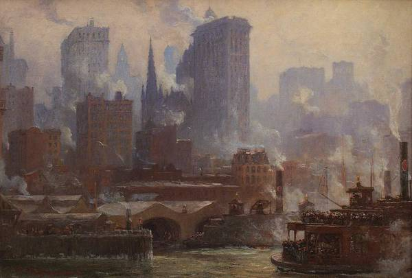 Wall Art - Painting - Colin Campbell Cooper - The Wall Street Ferry Slip  1904  by Celestial Images