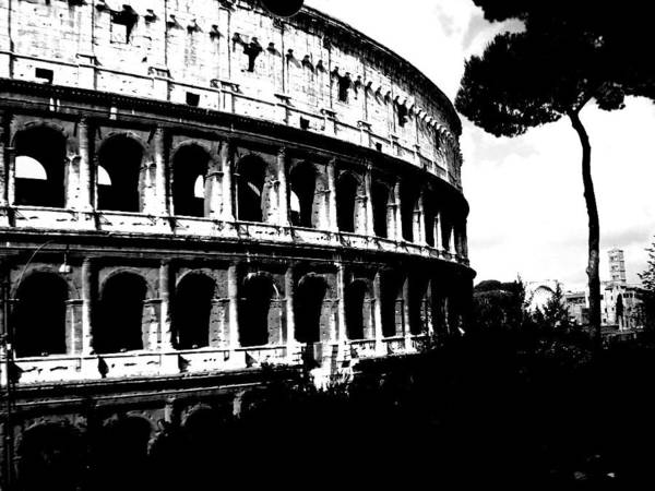 Photograph - Coliseum, Black And White  by Chance Kafka