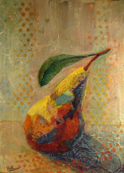 Single Leaf Mixed Media - Collaged Pear by Buff Holtman
