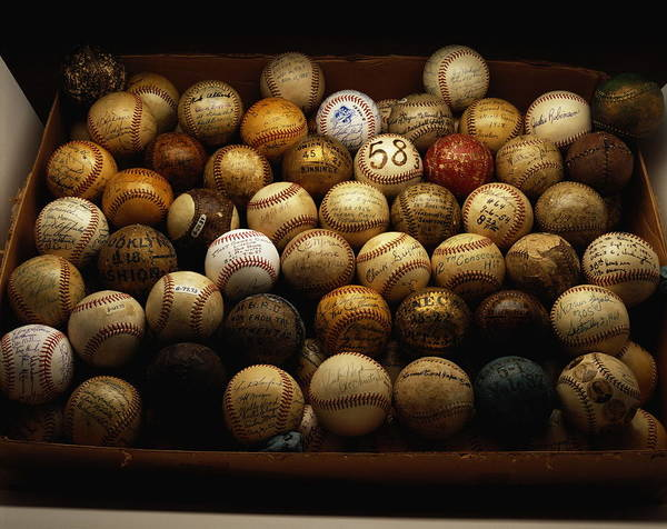 Ball Photograph - Collection Of Famous Baseballs, Close-up by Frank Spinelli