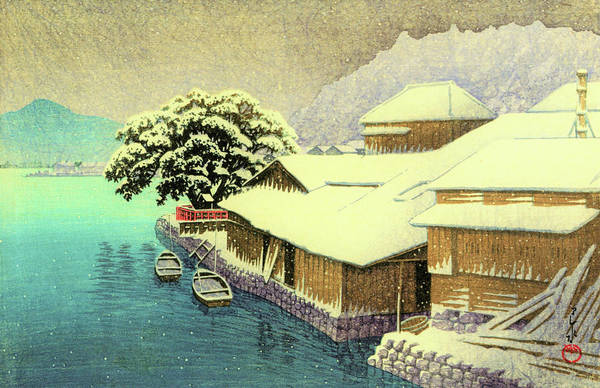 Wall Art - Painting - Collection Of Scenic Views Of Japan, Eastern Japan Edition, Ishinomaki In Snow by Kawase Hasui