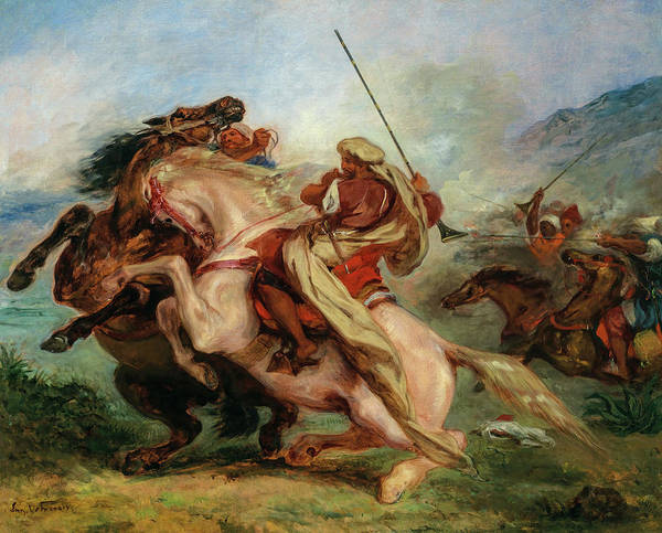 Wall Art - Painting - Collision Of Arab Horsemen, 1844 by Eugene Delacroix
