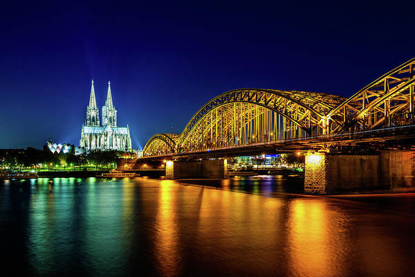 Rhine River Photograph - Cologne City Panorama By Night by Mbbirdy