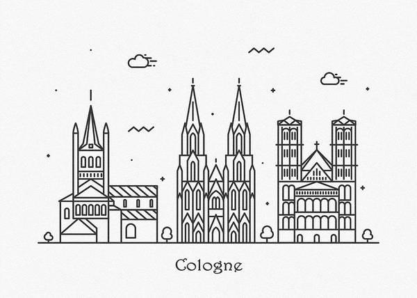 Landmark Center Drawing - Cologne Cityscape Travel Poster by Inspirowl Design