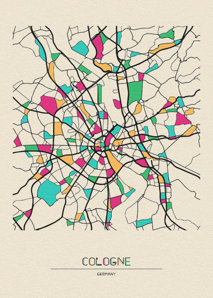 Wall Art - Drawing - Cologne, Germany City Map by Inspirowl Design
