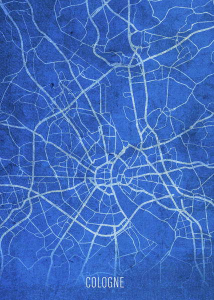 Wall Art - Mixed Media - Cologne Germany City Street Map Blueprints by Design Turnpike