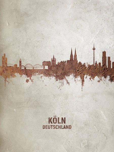 Wall Art - Digital Art - Cologne Germany Rust Skyline by Michael Tompsett