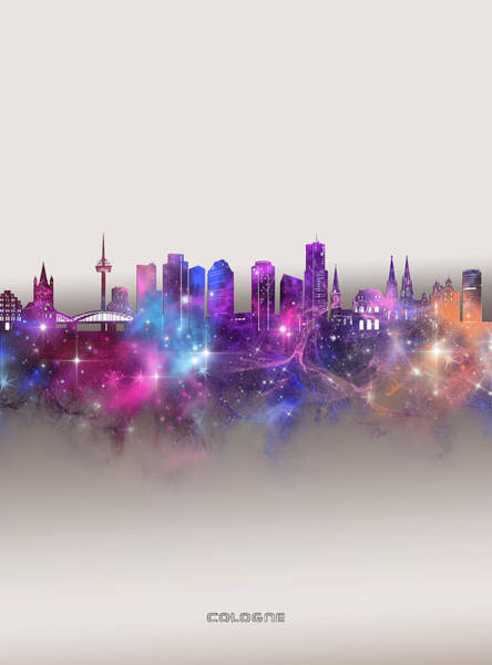 Wall Art - Digital Art - Cologne Skyline Galaxy by Bekim M