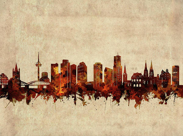 Wall Art - Digital Art - Cologne Skyline Sepia by Bekim M