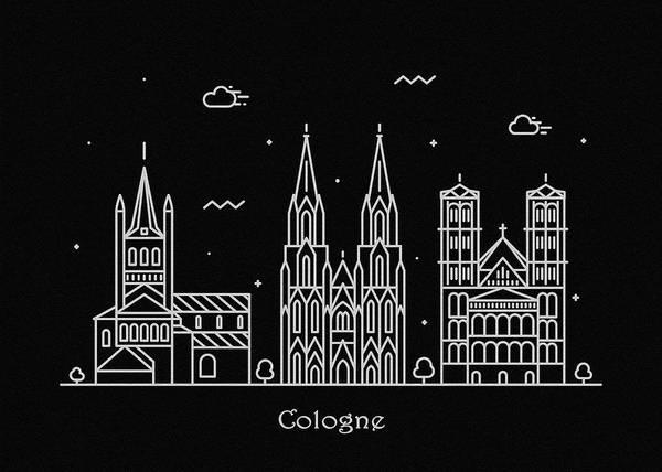 Cologne Skyline Travel Poster Art Print