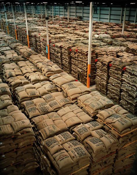 Warehouse Photograph - Colombia, Sacks Of Coffee In Warehouse by Livia Corona