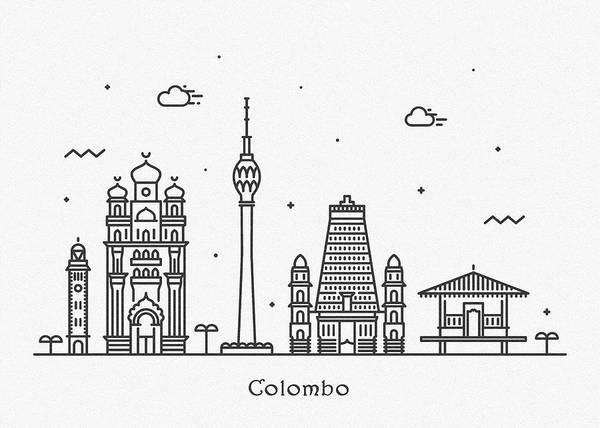 Landmark Center Drawing - Colombo Cityscape Travel Poster by Inspirowl Design