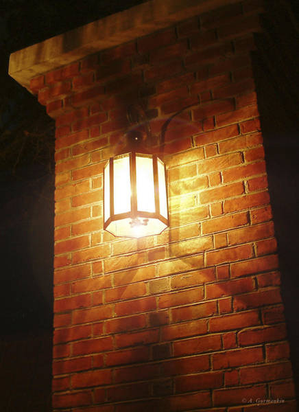 Photograph - Colonial Brick Wall And Street Lamp by A Gurmankin